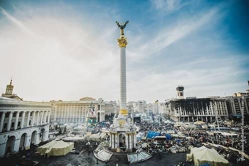 Demonstrasjon på Maidan-plassen i Kiev 26. februar 2014. Foto: Sasha Maksymenko/Flickr